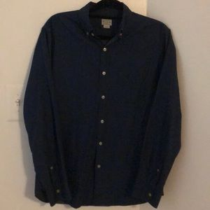 J Crew Woven Cotton Navy Blue Button Down Shirt